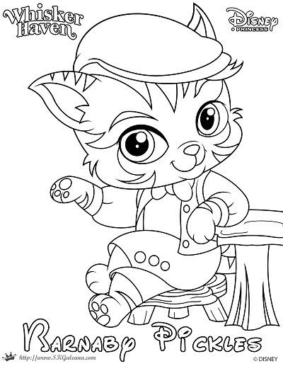 Whisker Haven Tales Coloring Page of Barnaby Pickles | Negro, Blanco ...