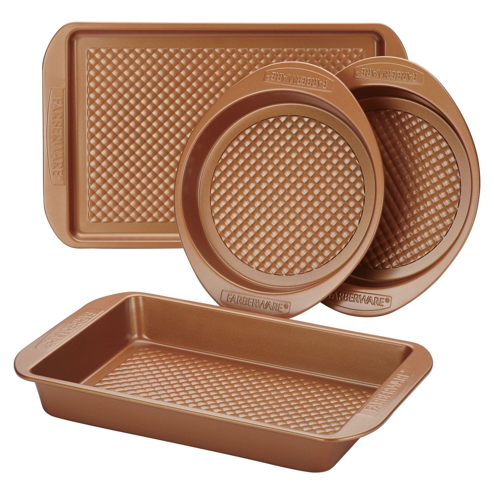 Meyerco Colorvive Nonstick Steel 4 Piece Bakeware Set Nonstick
