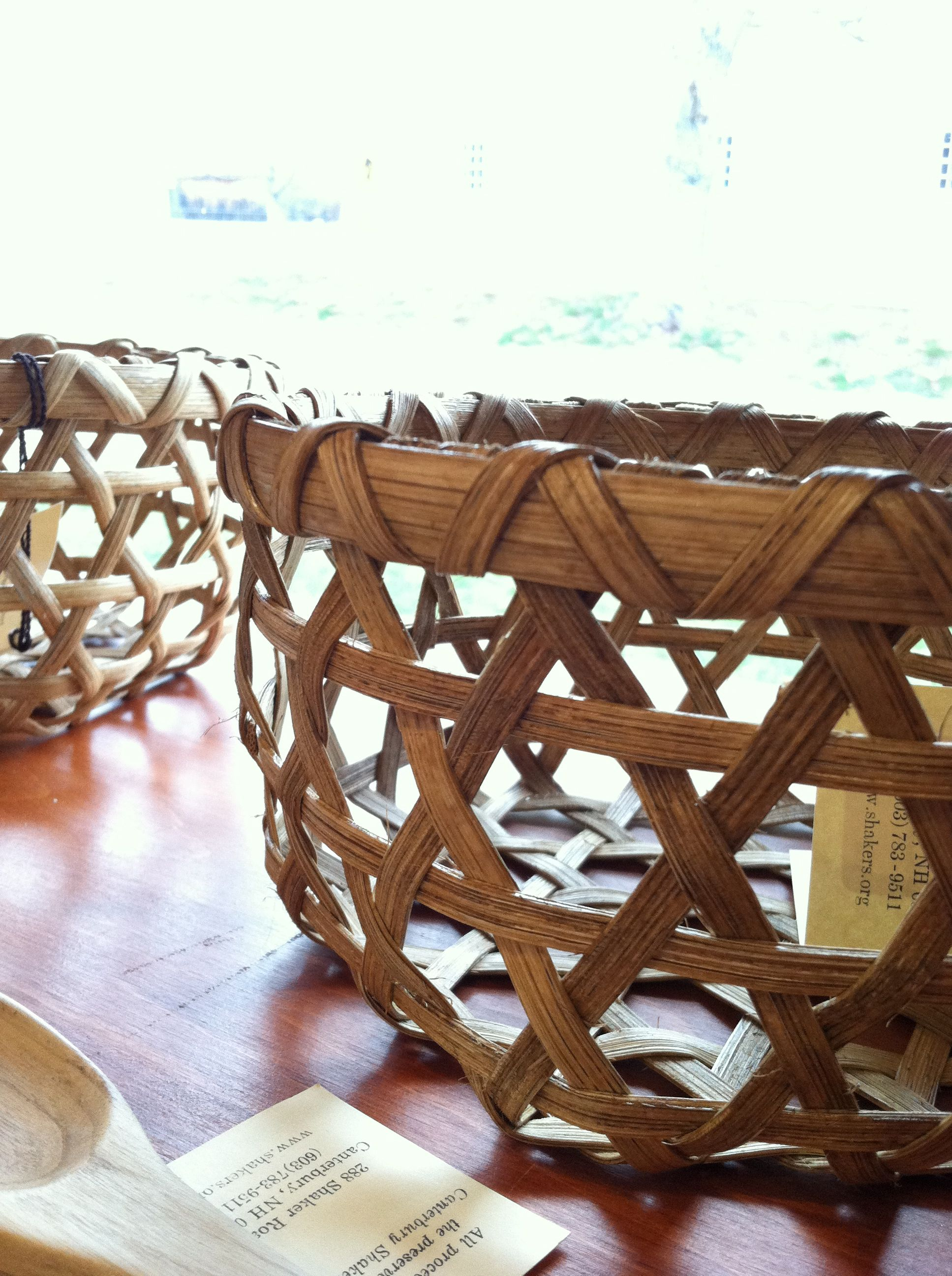 Handmade baskets at Canterbury Shaker Village. Handmade