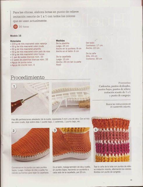#542 Botas Juveniles a Crochet o Ganchillo