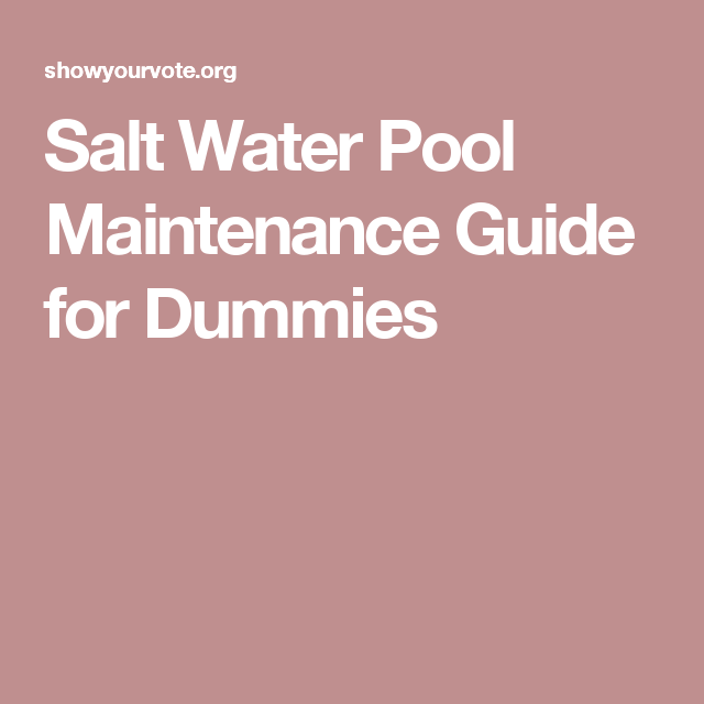 Salt Water Pool Maintenance Guide For Dummies Swimming Pools