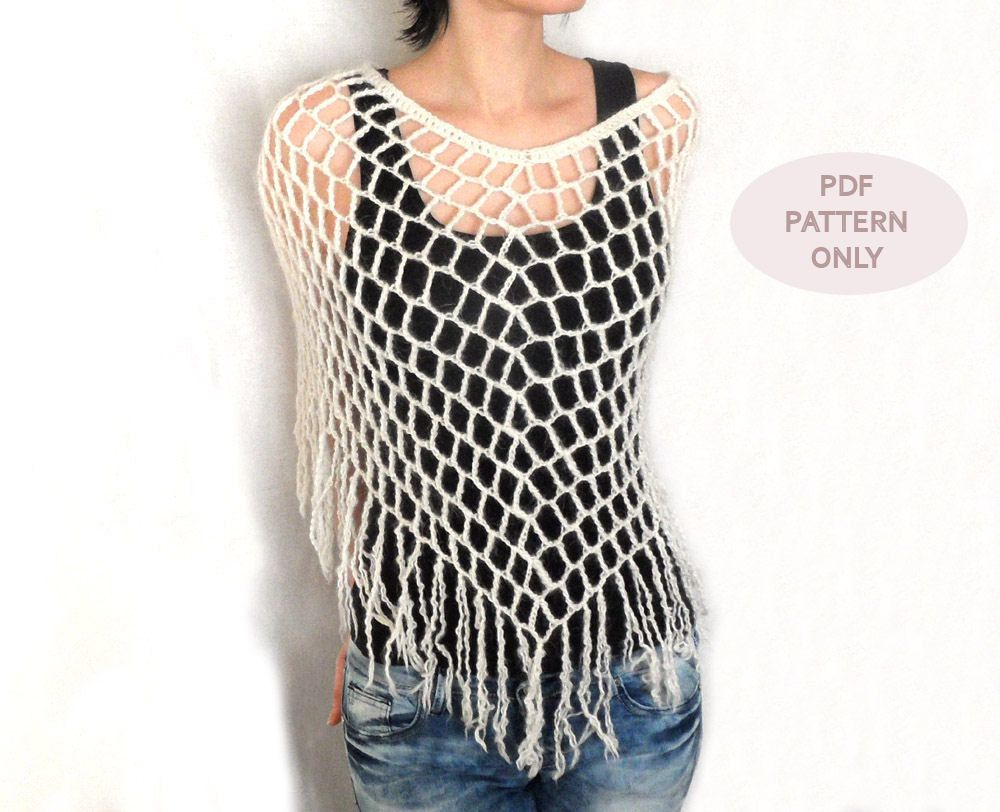 Crochet Spiderweb Poncho Crochet Poncho Pattern Fringes Lacy