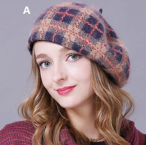 Plaid french beret hat for lady winter wool hats