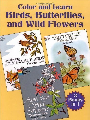 Color And Learn Birds Butterflies And Wild Flowers De Dover Http