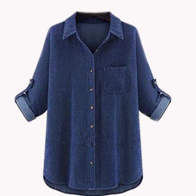 d1ce012fd05 Women's Solid Blue Cotton Top , Plus Size / Casual / Day. Plus Size Denim  Shirt – Curvy Fashion Queen