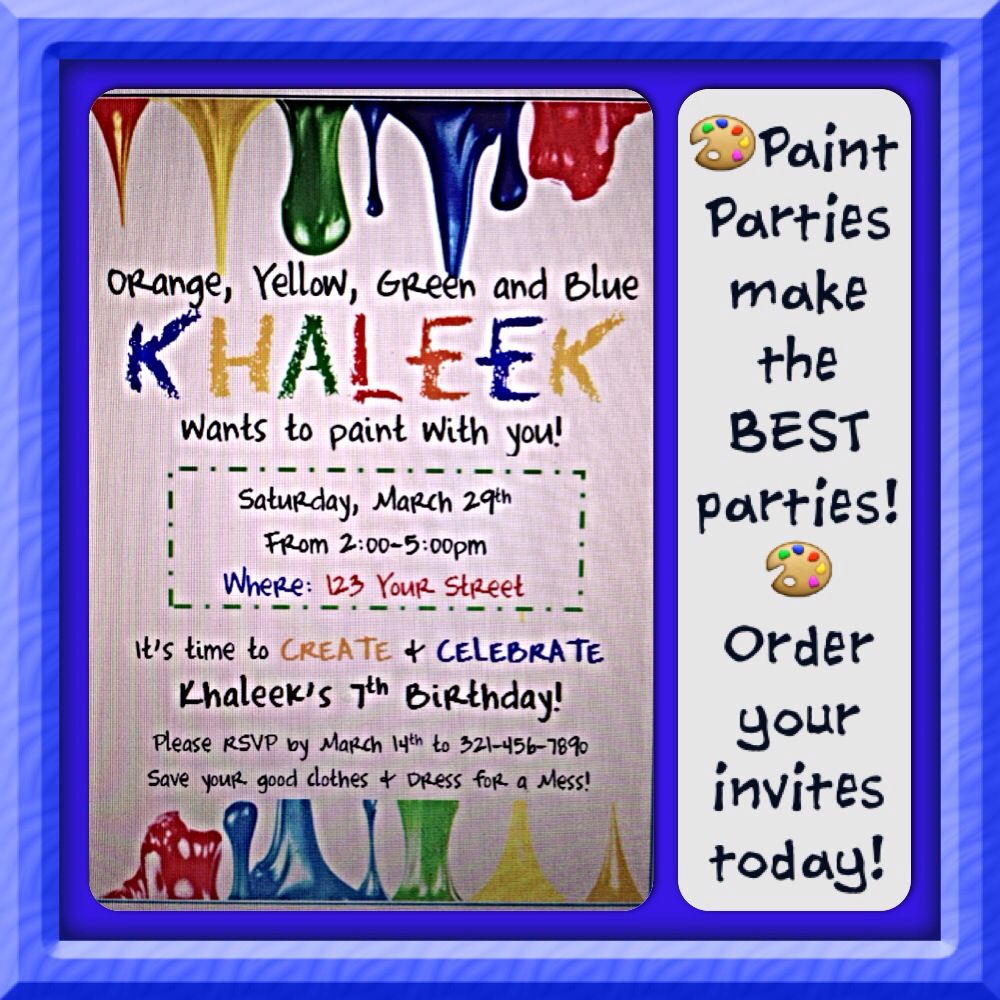 PAINT PARTY!!!! Email me at thejshoponline@gmail.com if interested in ordering these Paint Party invites. They can be customized with your party info!