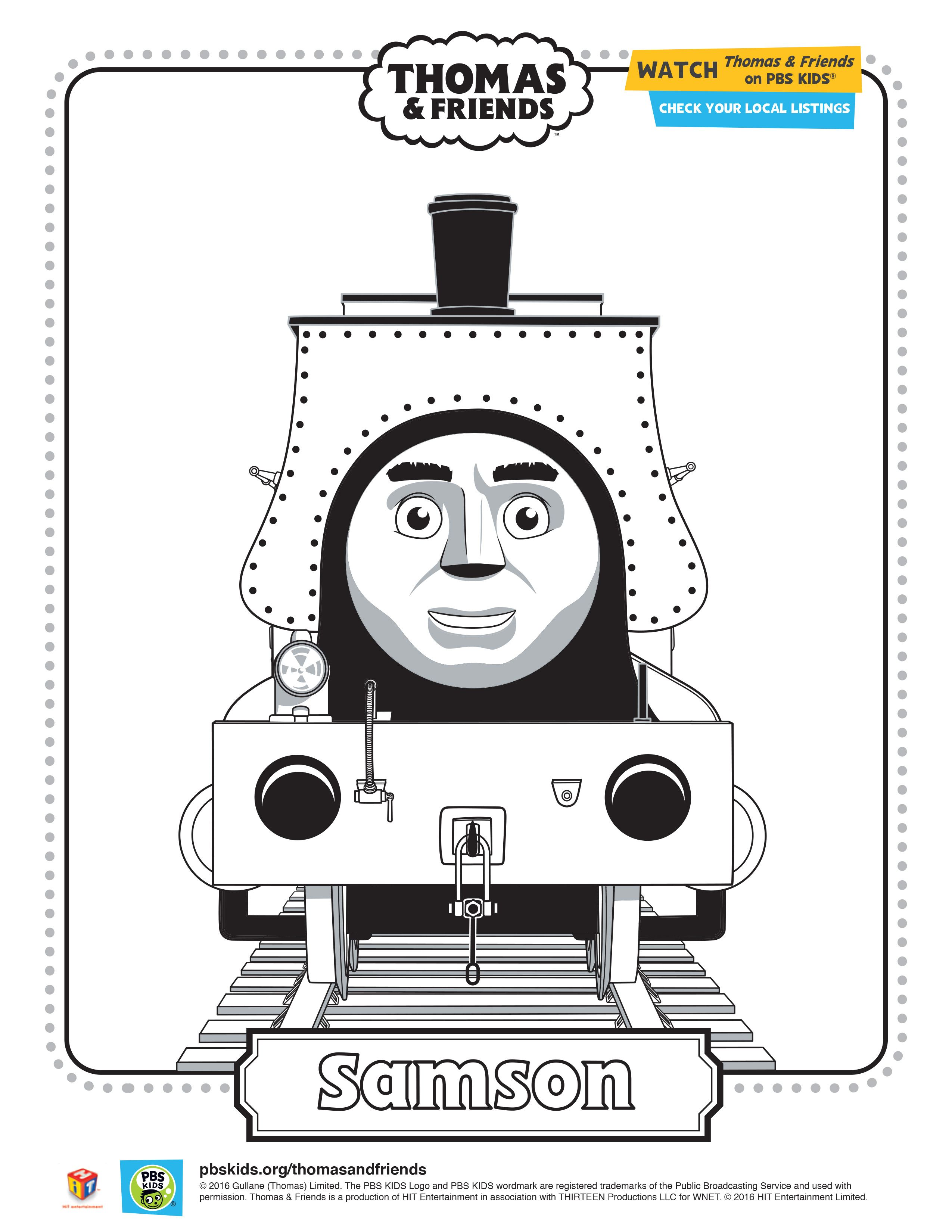 Samson Coloring Sheet Thomasandfriends Pbskids Printable Coloringpage