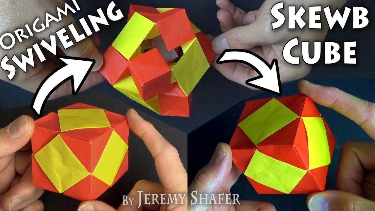 Origami Swiveling Skewb Cube In 2020 Cube Origami Paper Cube
