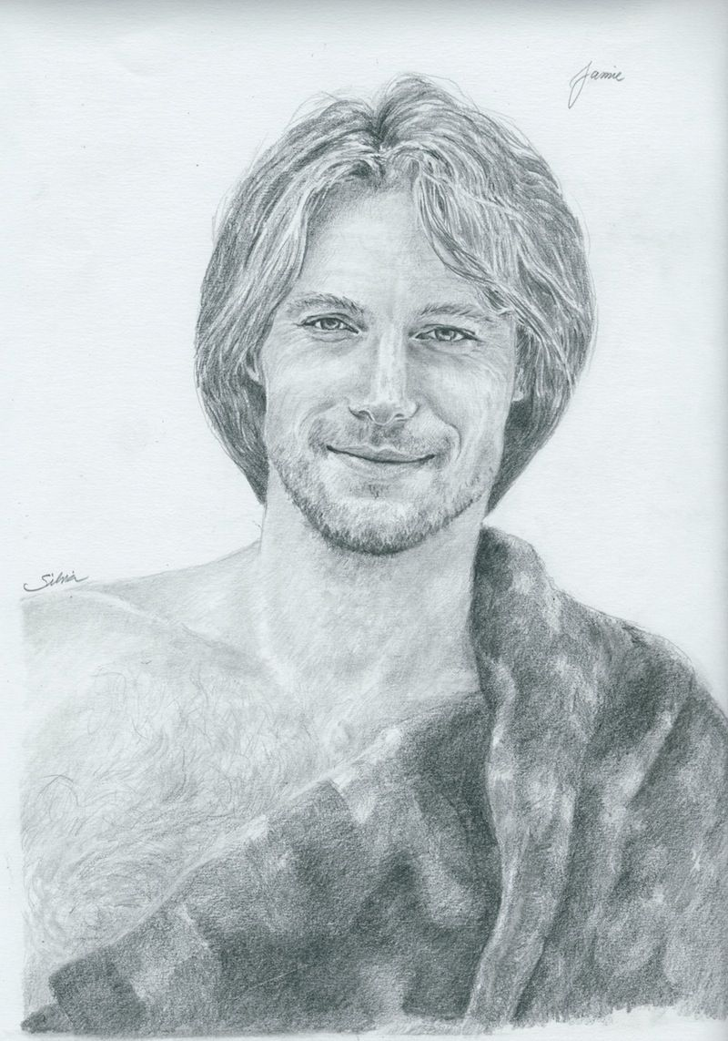 Is this what Jamie Fraser really looks like? Maybe so!  I like this drawing very much, and so does Diana Gabaldon. The artist's name is Silvia and you can see more of her work here: http://www.flickr.com/photos/bluesquint/