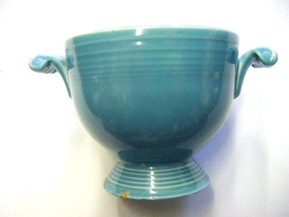 Vintage 1940's Turquoise Fiesta Sugar Bowl by parkledge on Etsy, $35.00