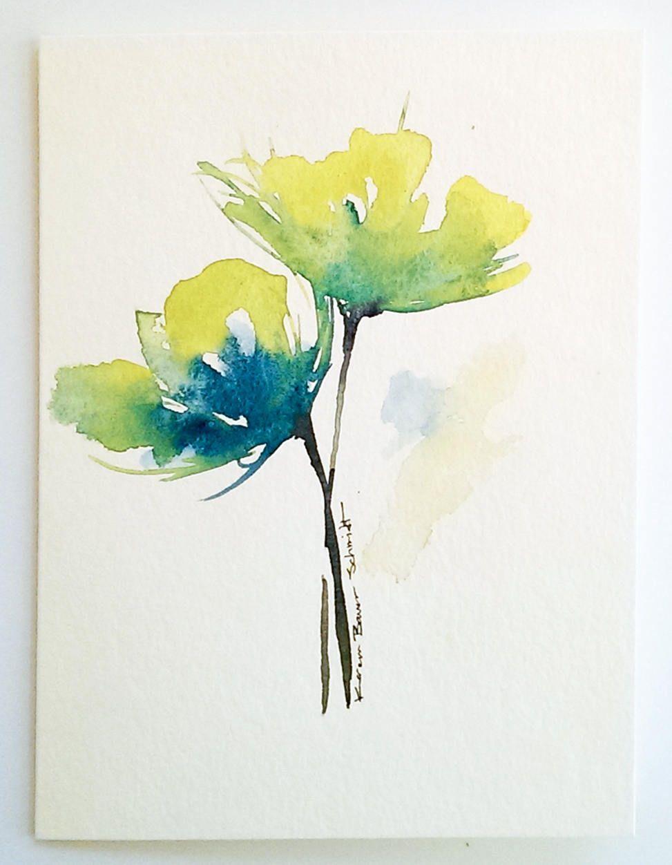 Poppies Original Hand Painted Greeting Card Original Watercolor