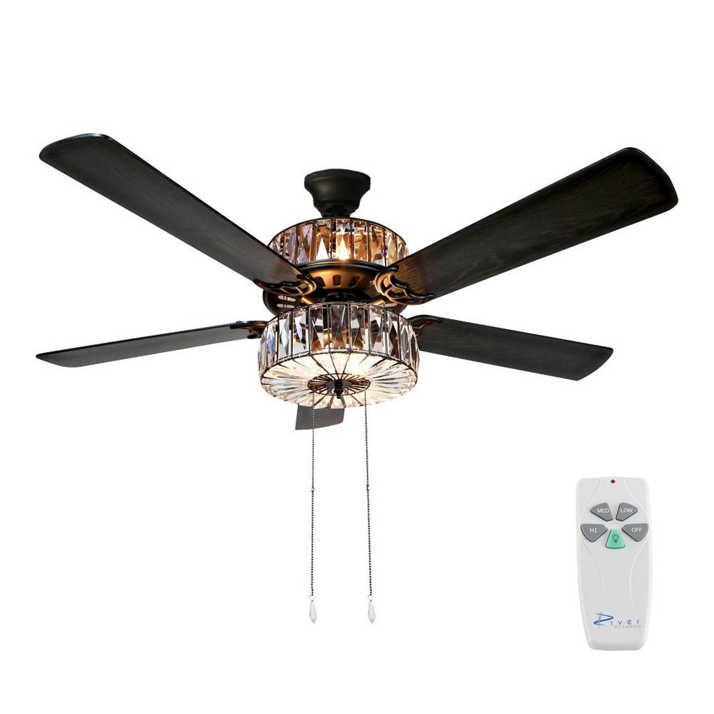 River Of Goods 52 In Clear Ceiling Fan 16553s The Home Depot Ceiling Fan With Remote Ceiling Fan Ceiling Fan With Light