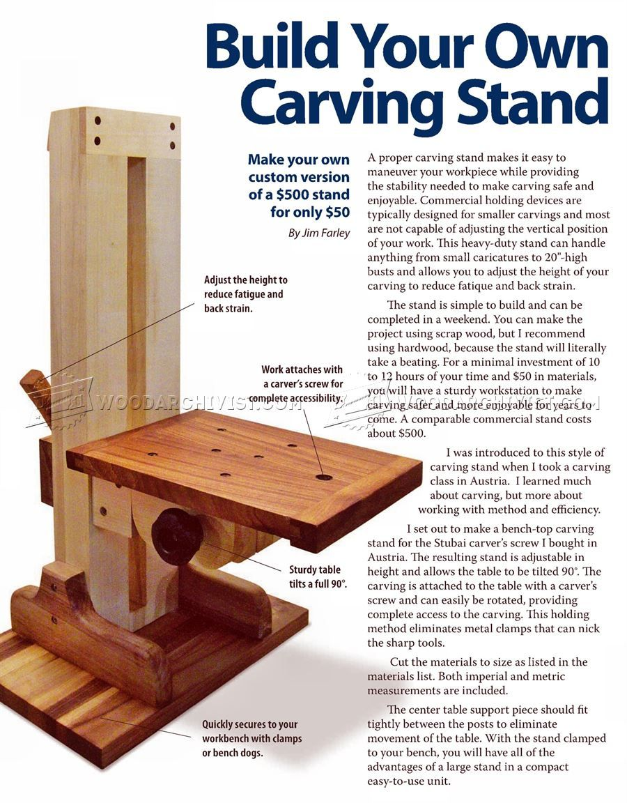 Build your own carving stand wood patterns