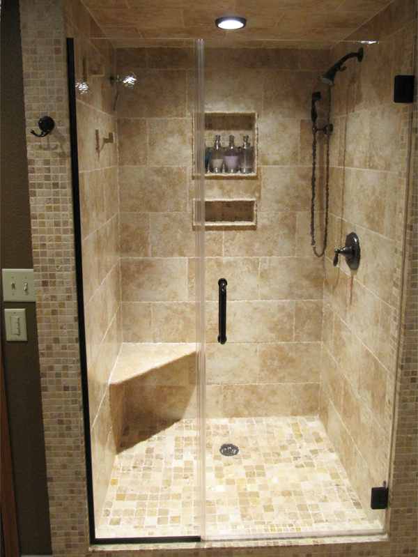 glass shower doors frameless | frameless shower door with inline ...