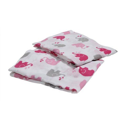 Bacati Elephants Toddler Sheet Set Pink Grey Baby Bedding
