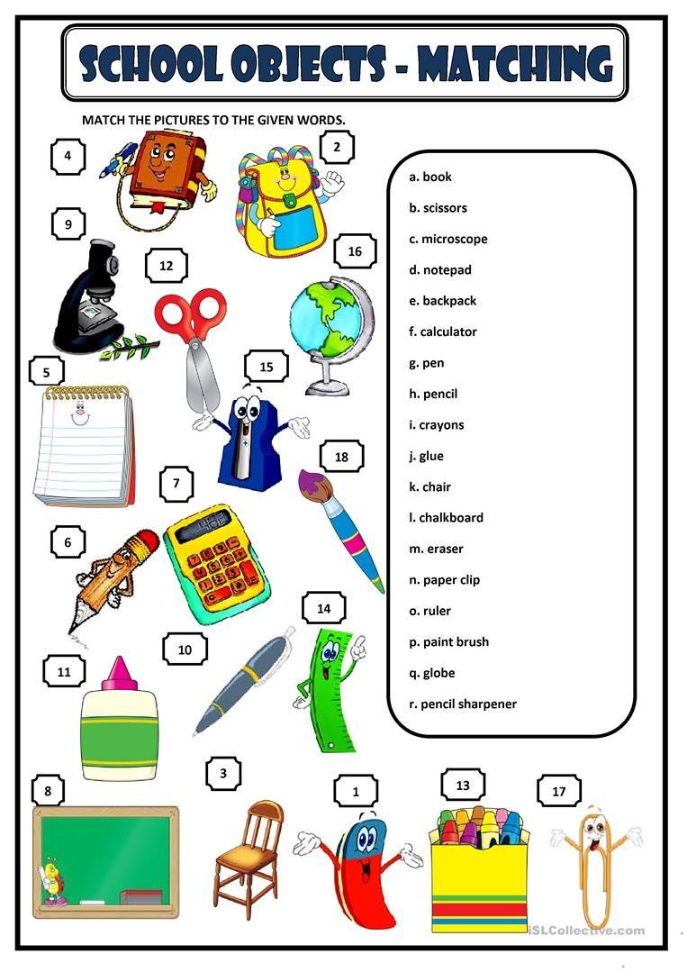 School Objects Matching Worksheet Free Esl Printable Worksheets Made By Teachers School Supplies For Teachers School Worksheets School Supplies Free education worksheets printable
