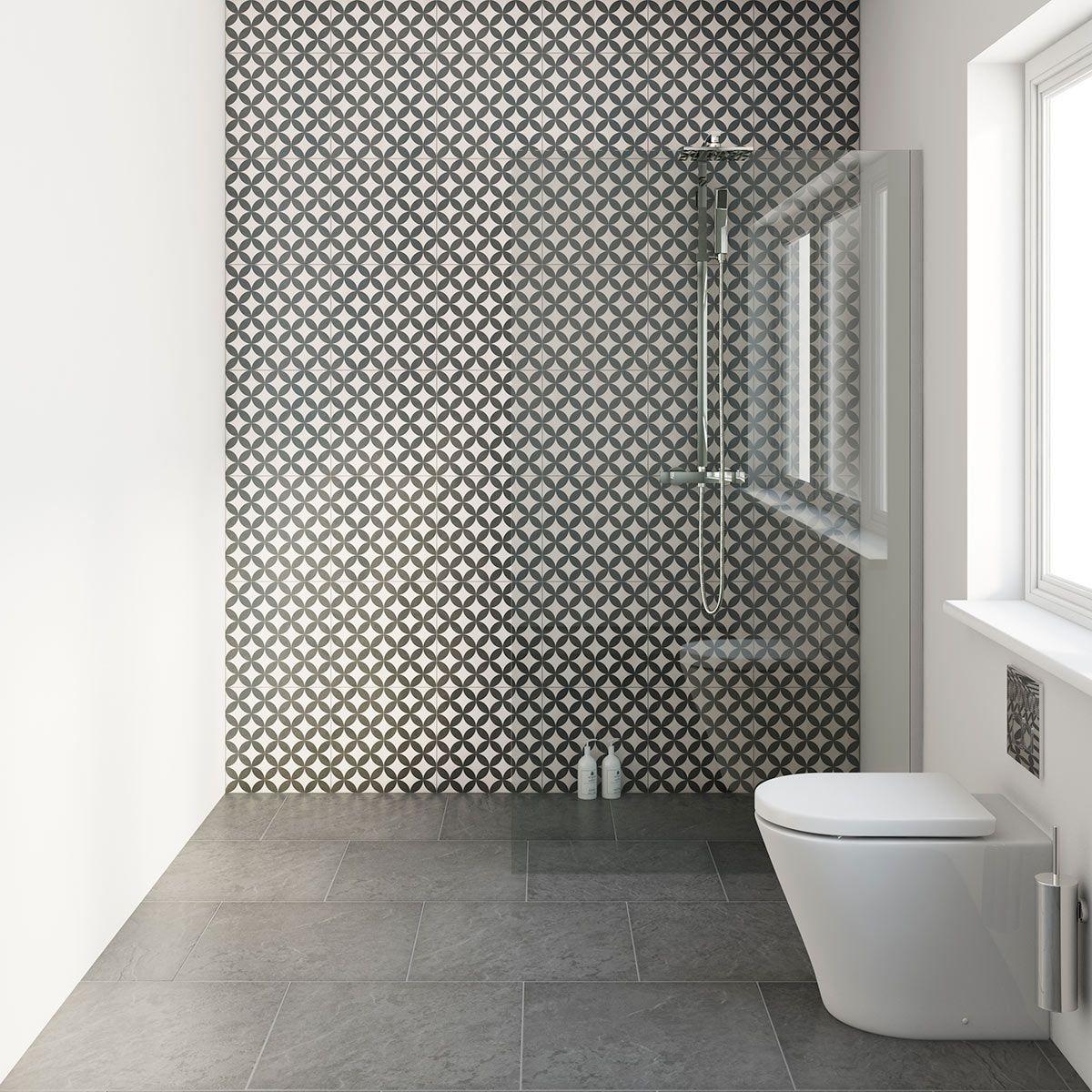 Circle Feature Matt Tile 331mm X 331mm Victoriaplum Com Black Tile Bathrooms Black Bathroom Bathroom Interior