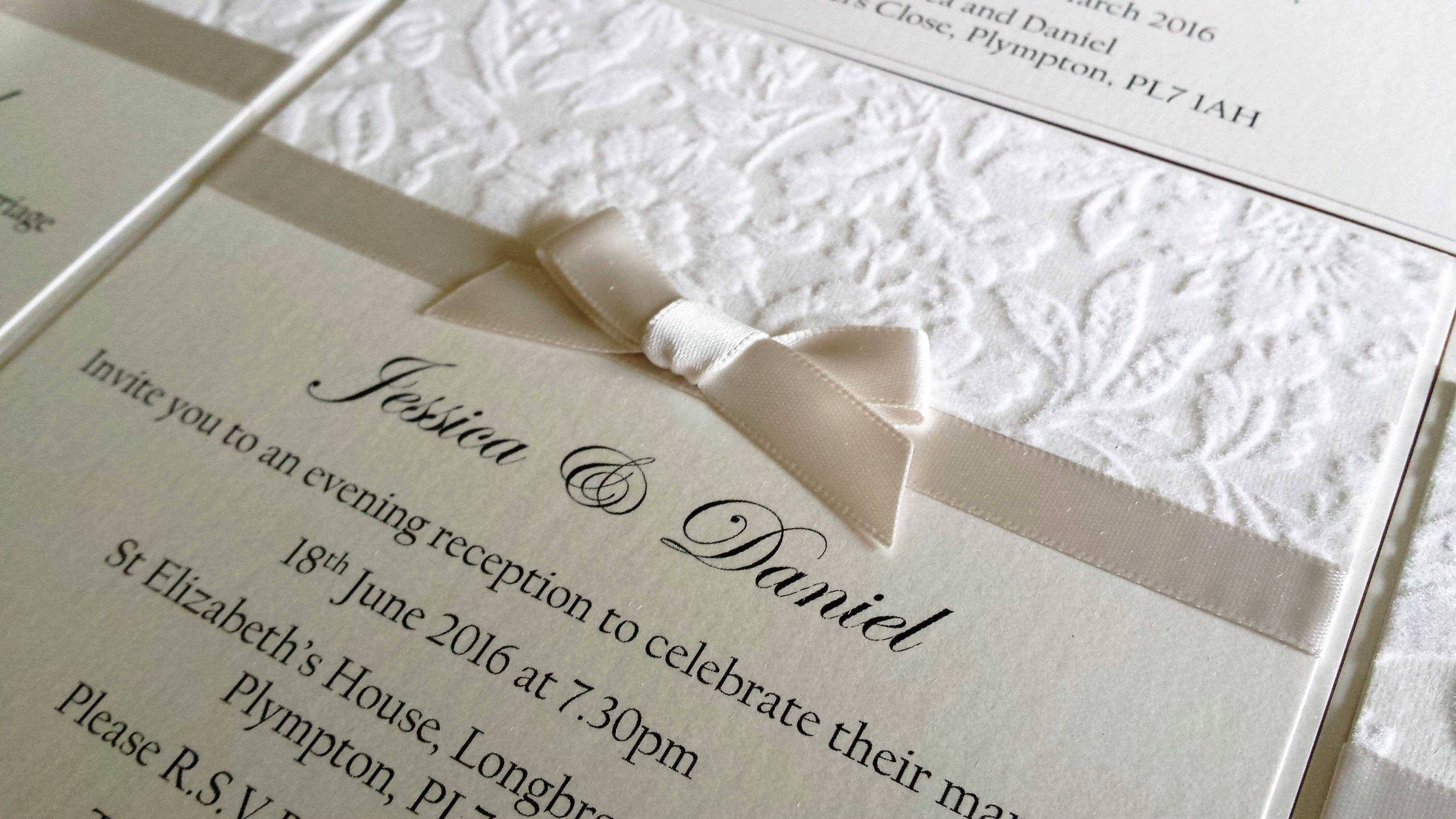Personalised luxury wedding invitation in pearlescent ivory with a ...