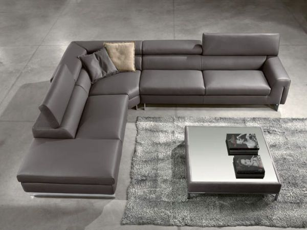 contemporary gray leather corner recliner sofa for the. Black Bedroom Furniture Sets. Home Design Ideas