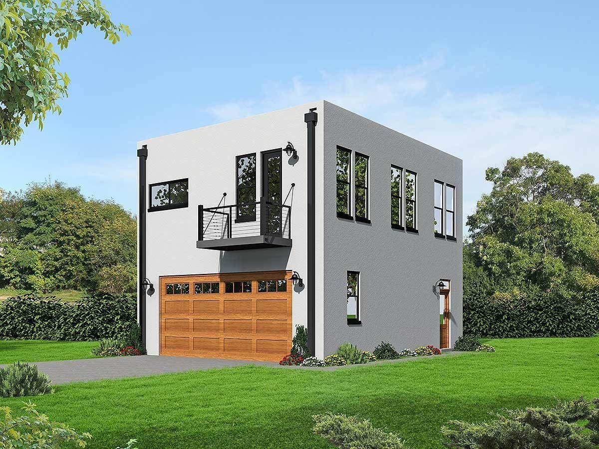 Plan 68472vr Modern Cube Shaped House Plan Garage Apartment