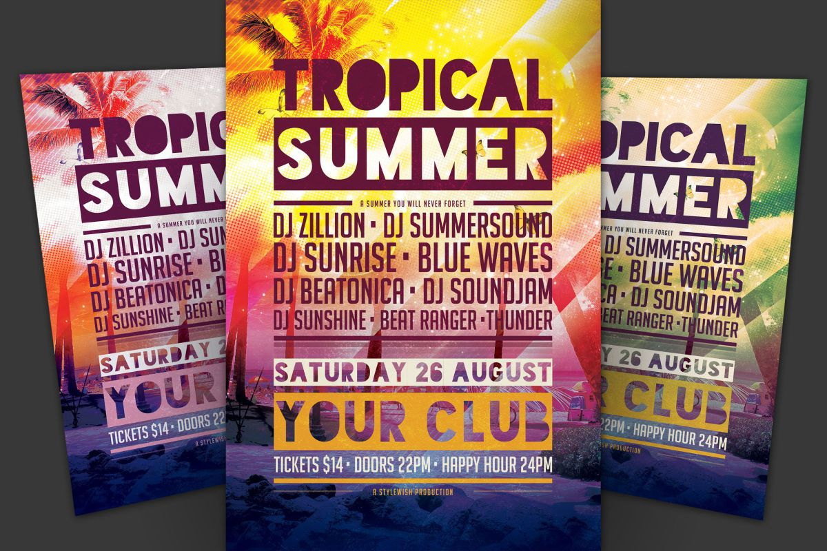 Tropical Summer Flyer Template Psd  Awesome Summer Party Flyers