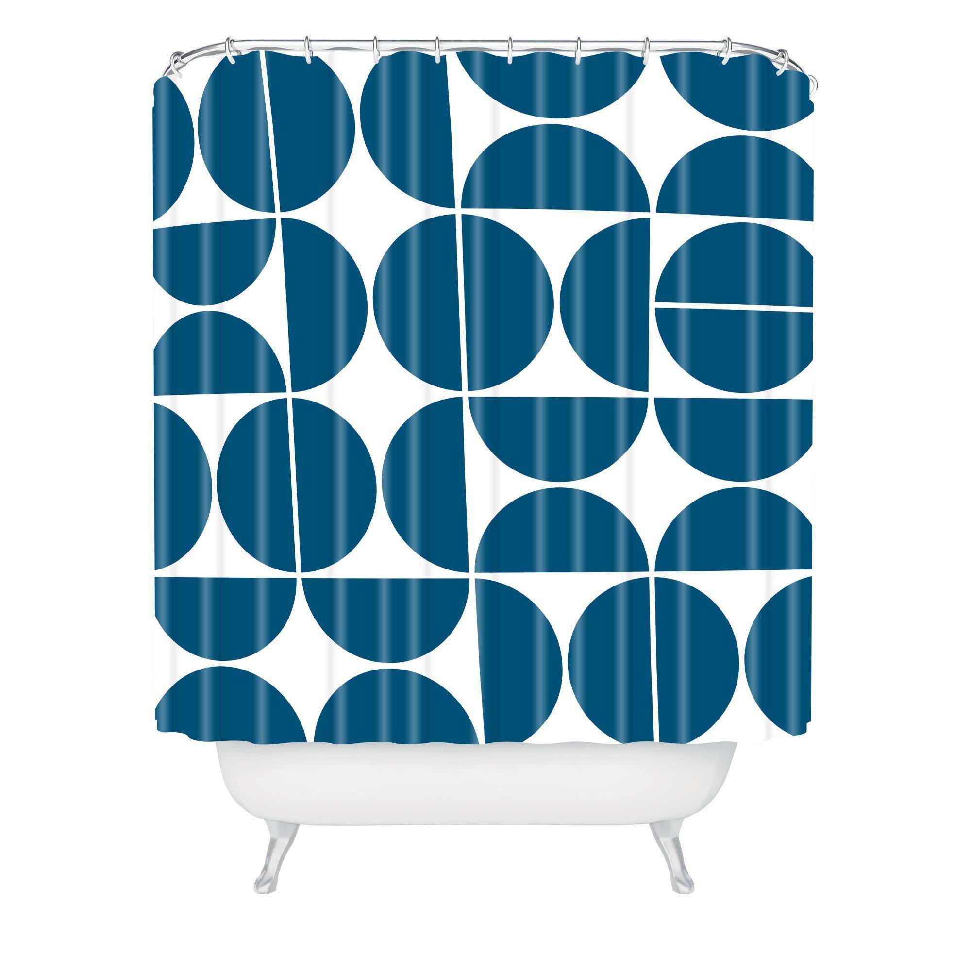 Mid Century Modern 04 Blue Shower Curtain The Old Art Studio
