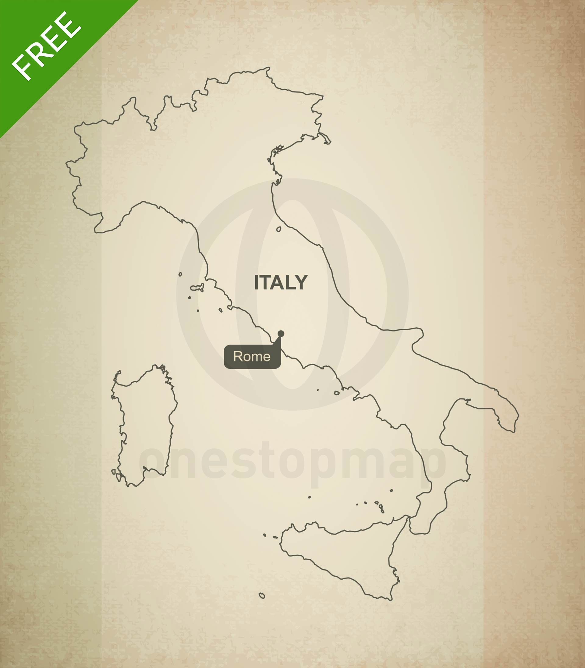 Free Vector Map Of Italy Outline