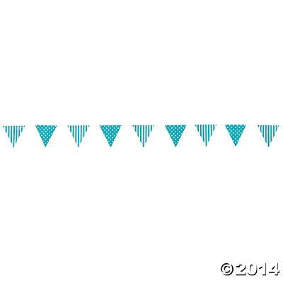 To hang in trees and hedge.  Turquoise Striped & Polka Dot Pennant Banner - Oriental Trading