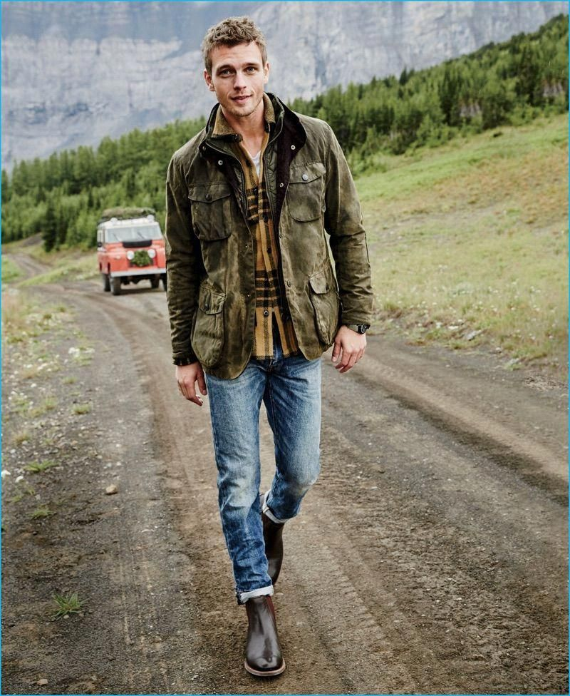 58d6d391f83e1 Benjamin Eidem rocks a Barbour Ogston jacket with a Wallace & Barnes  flannel shirt. The Swedish model also wears a J.Crew garment-dyed t-shirt,  770 jeans, ...