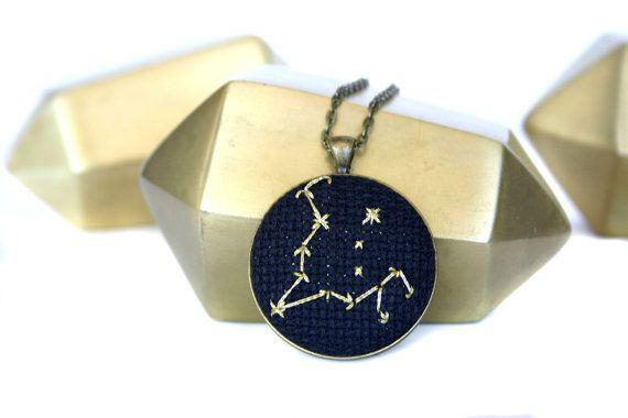 Golden Pisces Zodiac Constellation Necklace by zelmarose on Etsy
