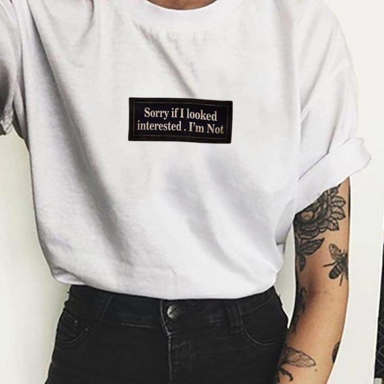 Not Interested T-Shirt Tee Tshirt Funny Tumblr Hipster Cool Instagram Single
