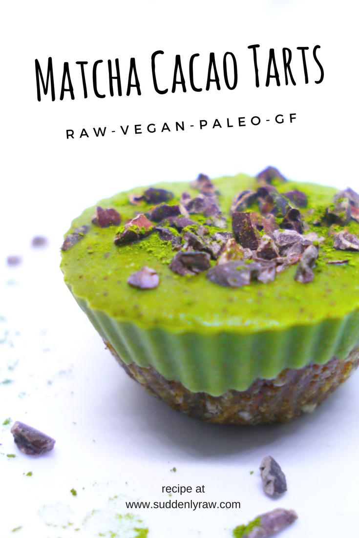 Easy Raw Vegan Matcha Cacao Tarts Raw Vegan Diet Raw