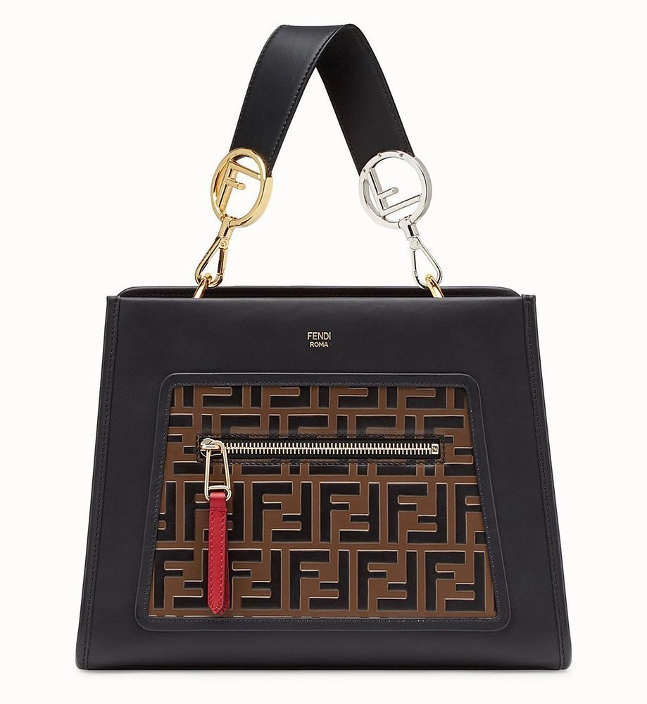 7fa9a5e2fd FENDI RUNAWAY FF LOGO PLAQUES BLACK AND BROWN COLOUR TOTE BAG  8BH344A4BOF13WB  FENDI  TOTEHANDBAG