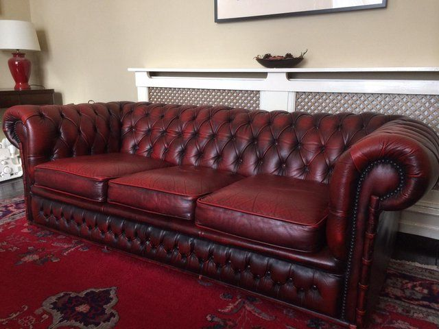 3 Seater Oxblood Red Leather Chesterfield Sofa For Sale Red