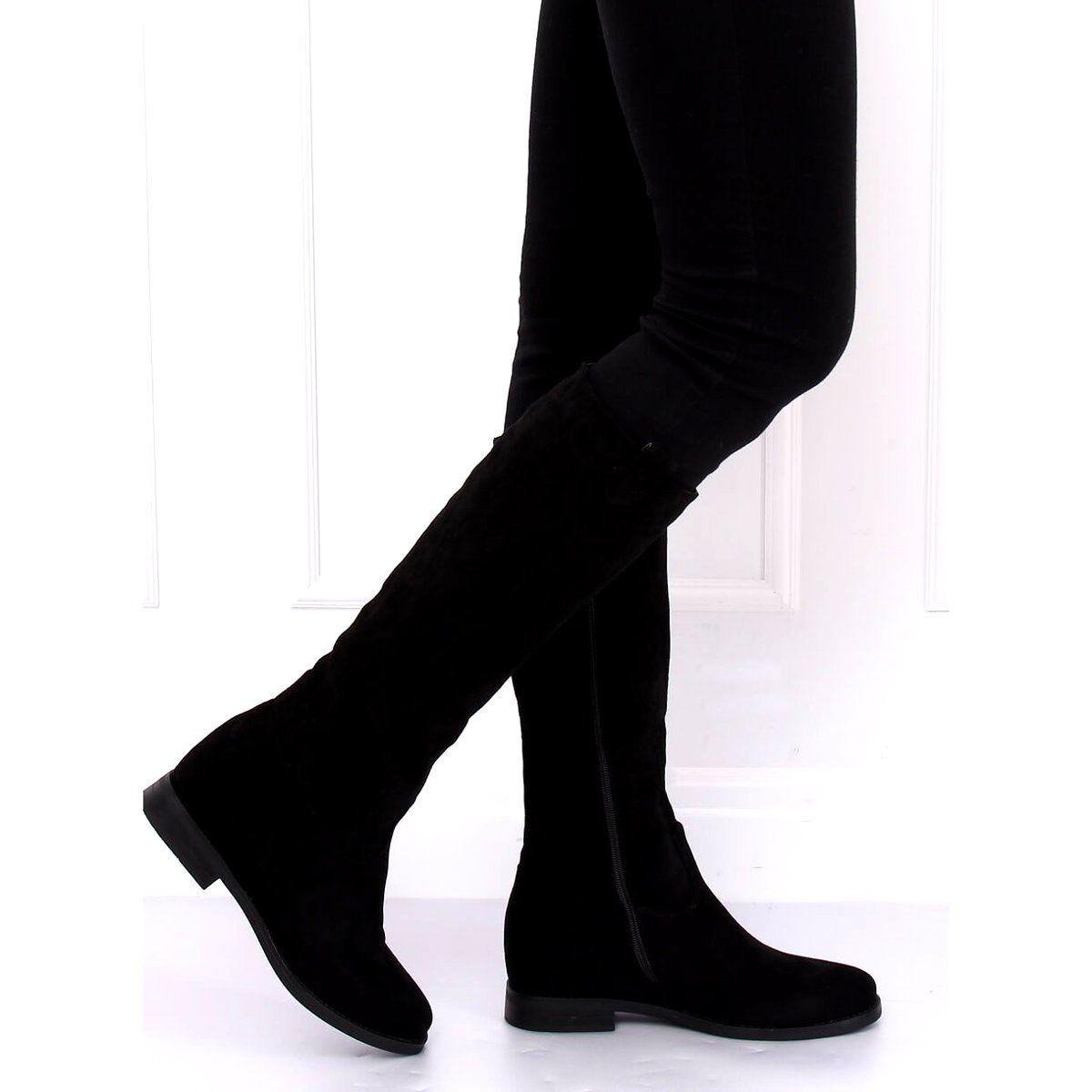 Kozaki Na Ukrytym Koturnie Czarne Nc968p Black Boots Womens Boots Fashion Cowboy Boots