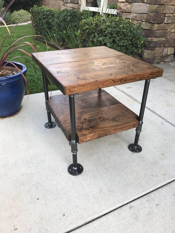 Industrial Table, Industrial Nightstand, Industrial Decor, Steampunk Decor, Rustic Nightstand,