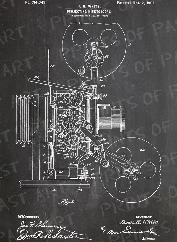White Projecting Kinetoscope First Movie Projector Patent