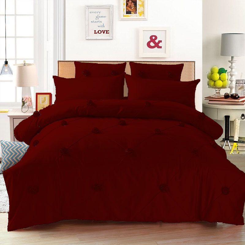 1500tc 7 Pc 15 D Pkt Full Dark Red Rose Design Egyptian Cotton Bedding Set