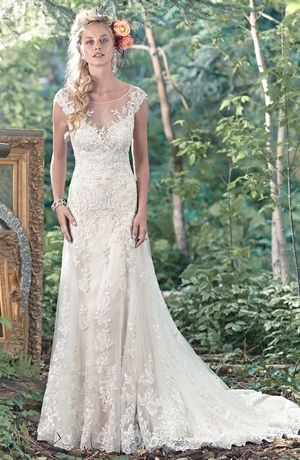 Maggie Sottero Illusion A-Line Gown in Lace   KleinfeldBridal.com