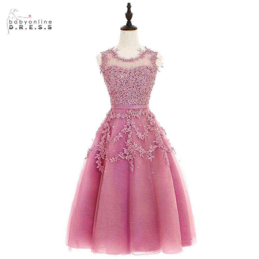 2017 Dust Pink Beaded Lace Appliques Short Prom Dresses Robe De ...