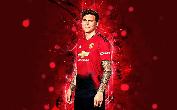 Most Great Manchester United Wallpapers 2018 Download wallpapers Victor Lindelof, 4k, season 2018-2019, footballers, Manchester United, neon lights, Premier League, Lindelof, soccer, fan art, football, Man United