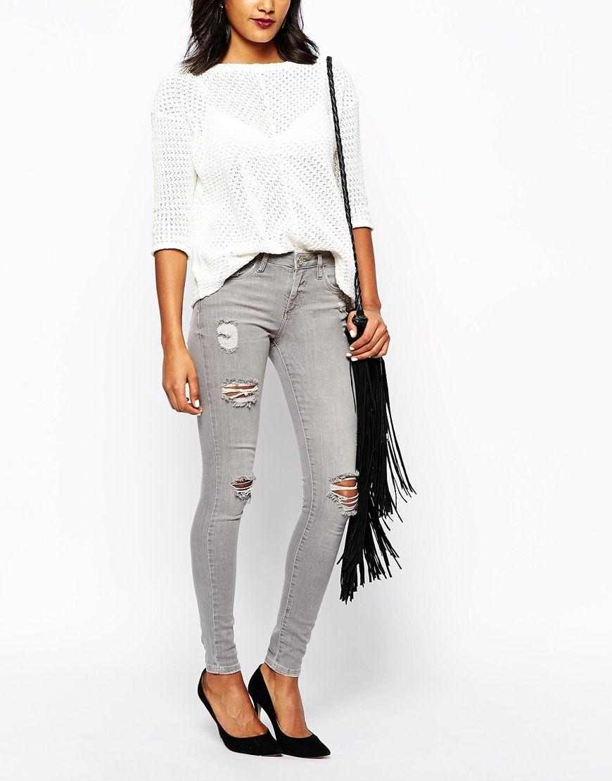 Distressed light grey Amelie Jeans, skinny fit stretch denim, by ...