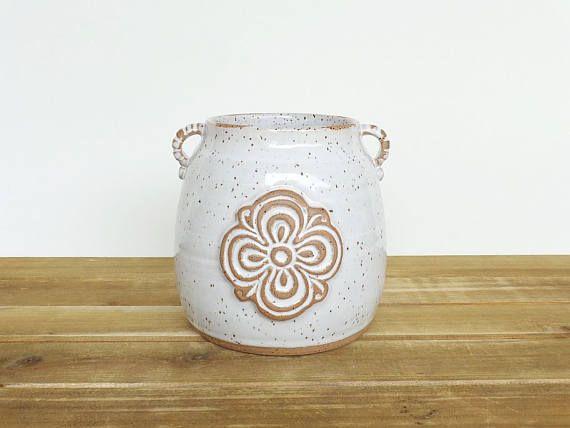 Portacucharones de gres en esmalte blanco brillante, rústico moteado, cocina, cerámica hecha a mano, mano estampada cerámica