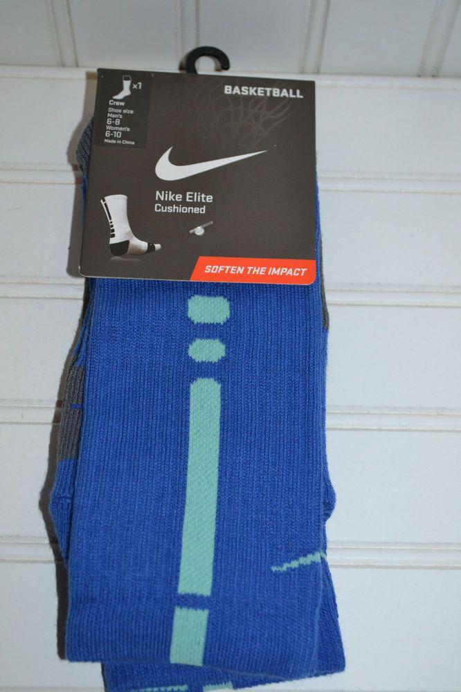 newest dd2ba e2952 NIKE Elite Cushioned Crew Socks Blue Men s SX3692 430 Sz Medium 6-8 Women s  6-10  Nike  Crew