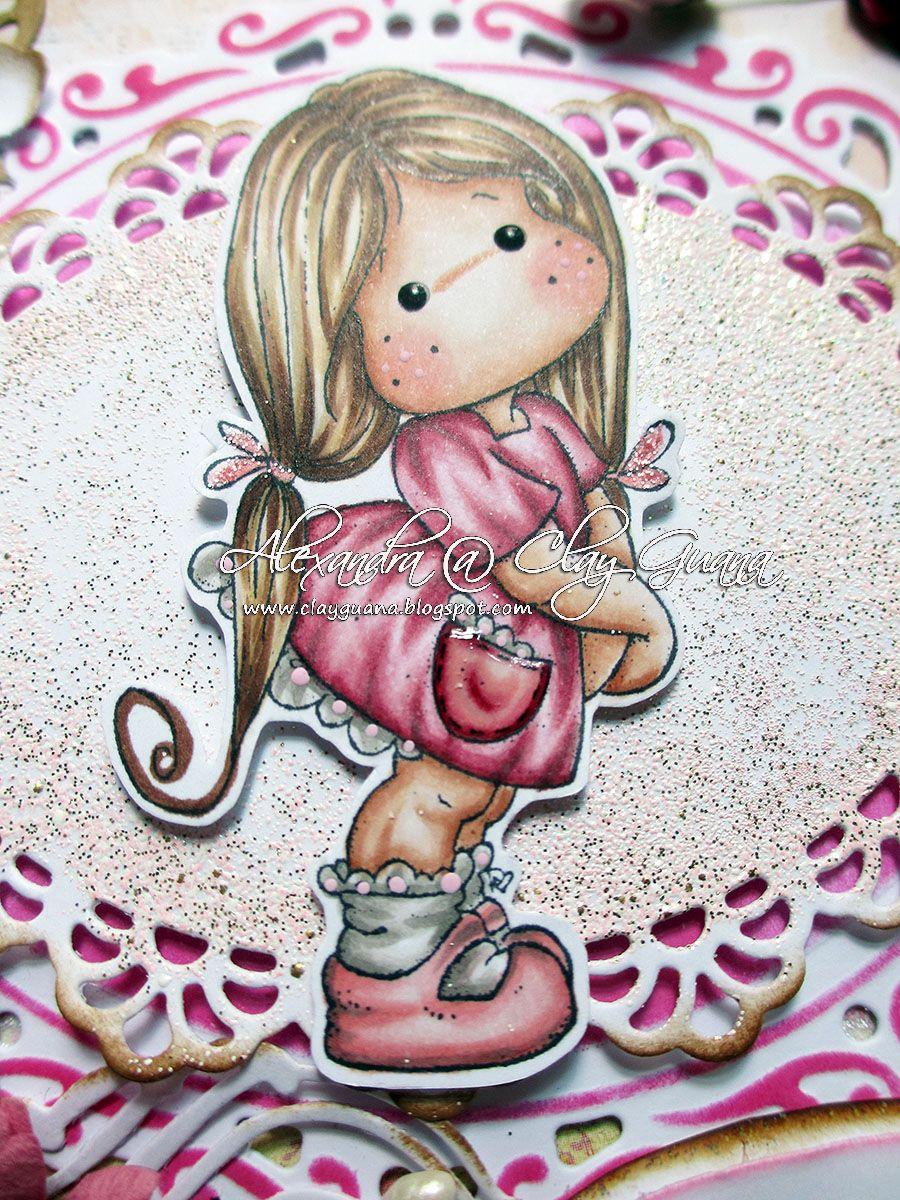 *ClayGuana: Inky Chicks DT Card - Pretty in Pink Skin: E0000, E00, E21, E11, E13, R20 Hair: E50, E51, E53, E55, E57 Dress: R89, R85, R83, R81 Shoes: R32, R21, R20, W3, W1 Socks: W5, W3, W1