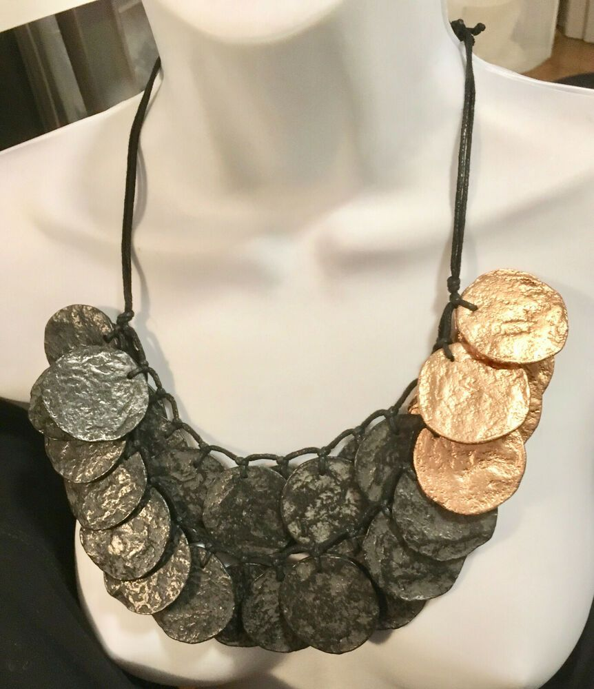 Topaz  faceted lucite bib necklace deco circles paris