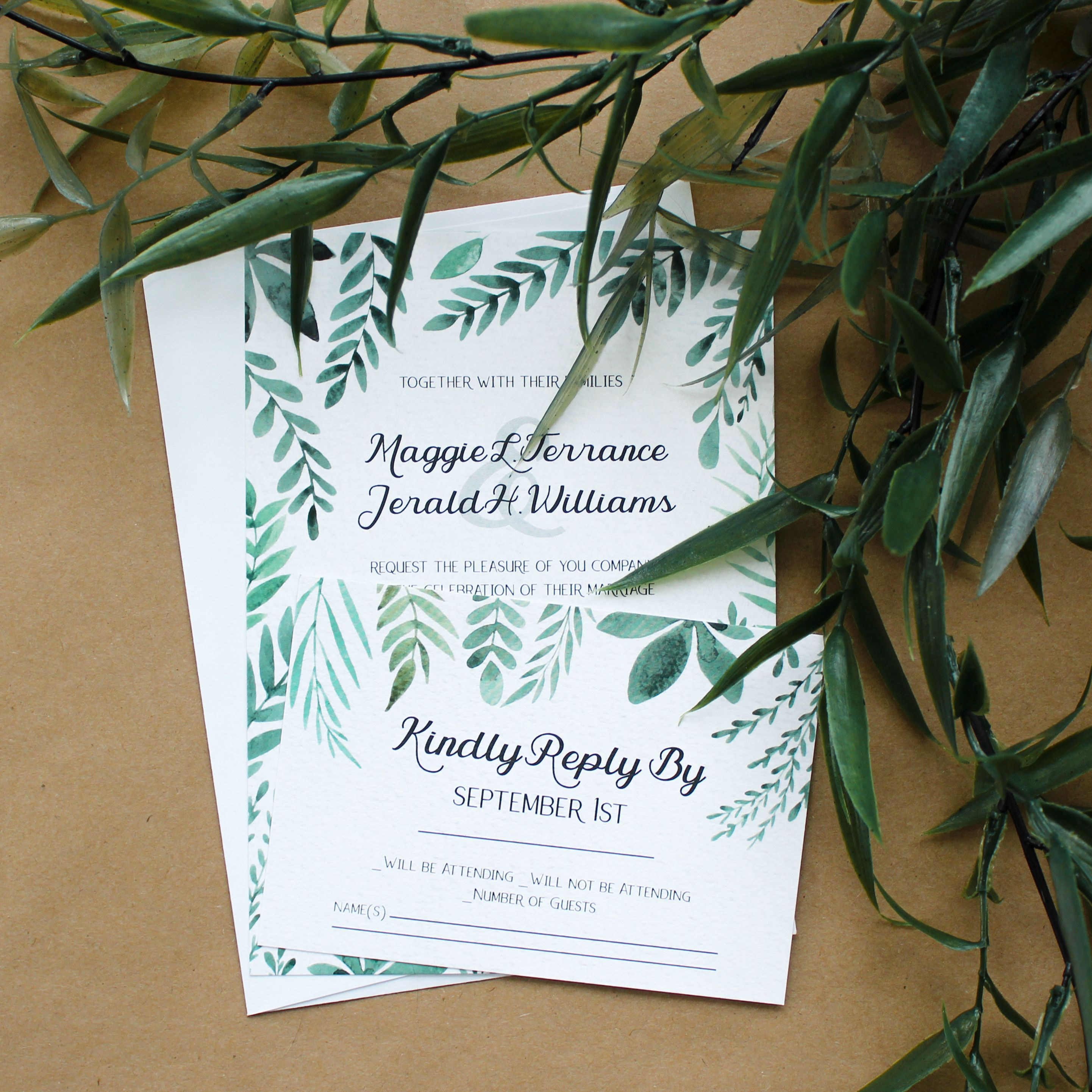 Watercolor Greenery Wedding Suite | CatPrint Design #1193 ...
