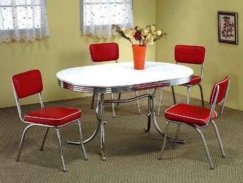 White Retro Style Kitchen Metal Chrome Round 50s Dinner Table 4 Red Chairs Set