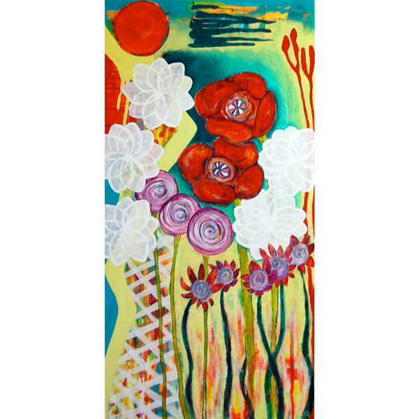 "I found this on www.meringueinc.ca;  ""Ardently"";  Original painting by Helen Billett;  Acrylic on canvas;  12"" x 24"";  1.5"" stretcher depth"