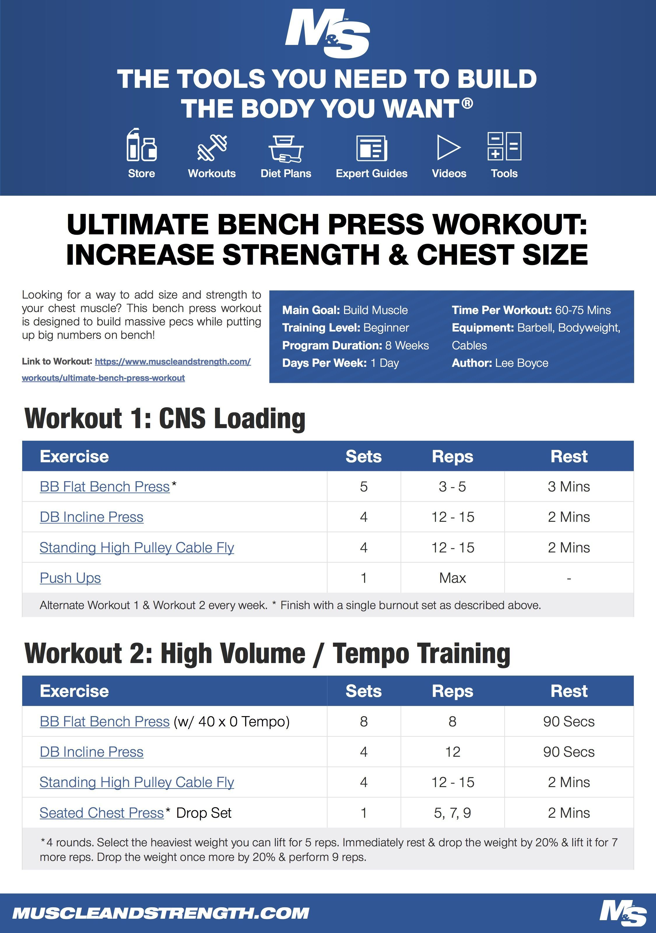 Ultimate Bench Press Workout Increase Strength And Chest Size Bench Press Workout Bench Press Bench Workout